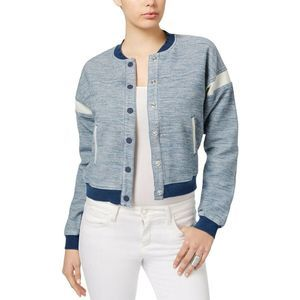 Guess Glove Wipe Dobby Blue And Gray Bomber Iacket
